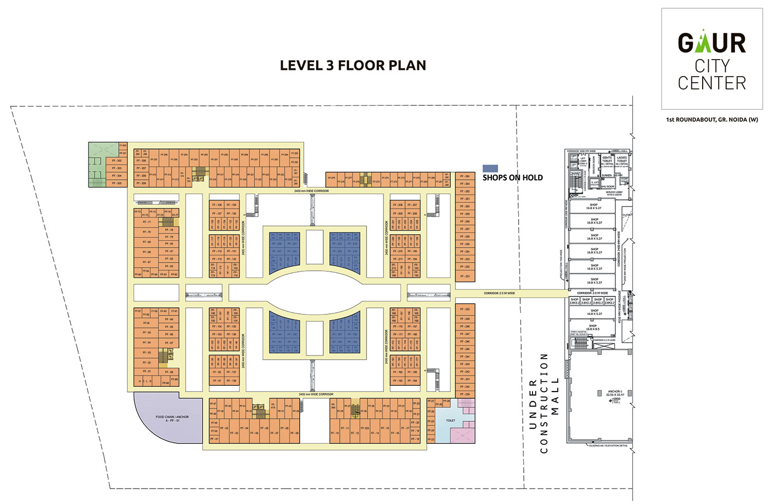 Gaur city center mall gaur city center office space for Floor plan project